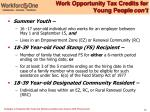 work opportunity tax credits for young people con t