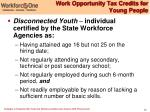 work opportunity tax credits for young people