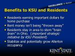benefits to ksu and residents