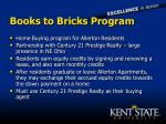books to bricks program