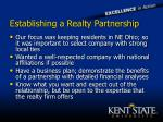 establishing a realty partnership