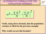 alternative formula for the population variance