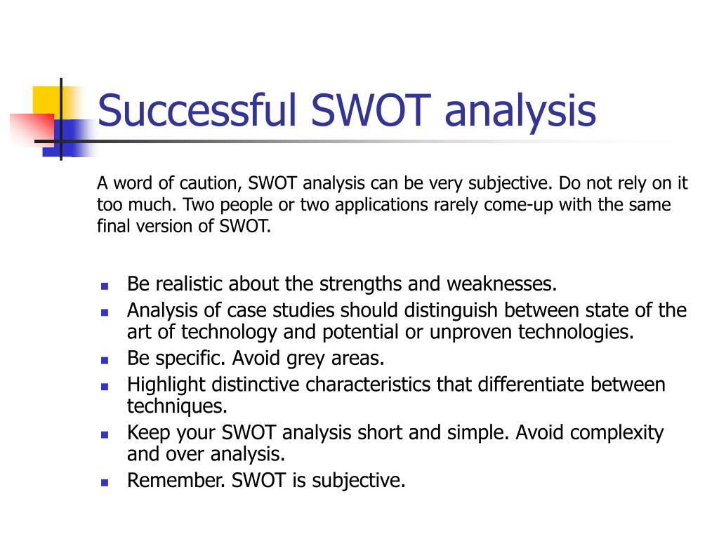 Successful SWOT analysis