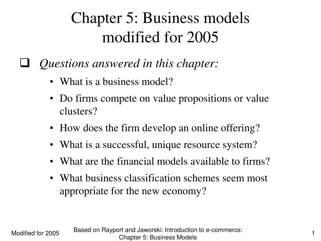 chapter 5 business models modified for 2005 l.