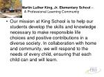 martin luther king jr elementary school a professional learning community