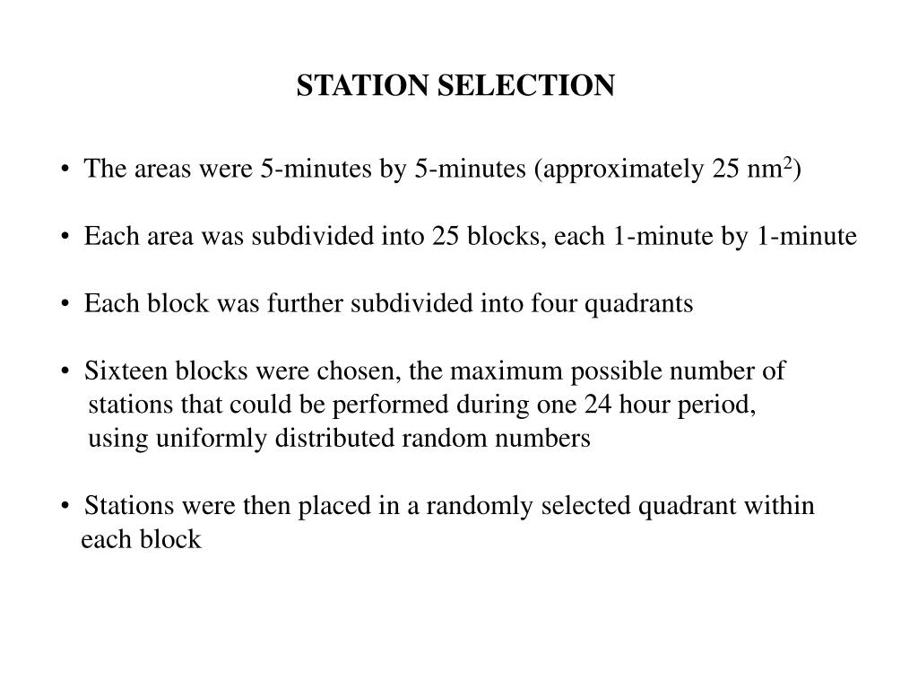 STATION SELECTION