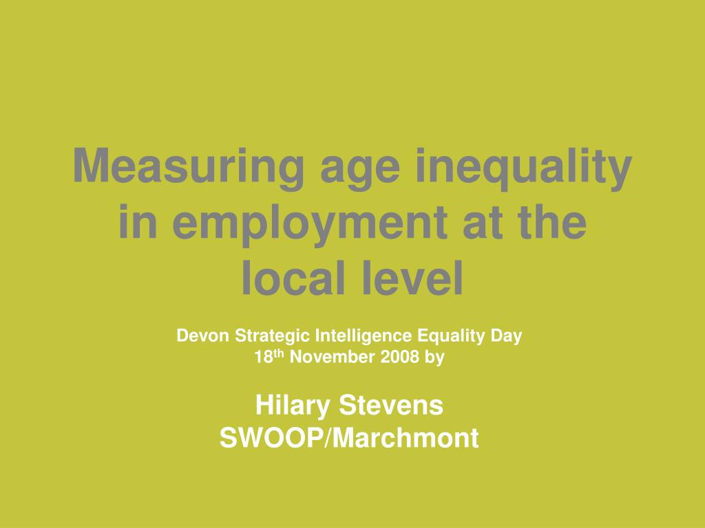 measuring age inequality in employment at the local level l.