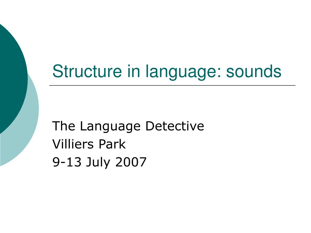 structure in language sounds l.
