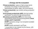 ii energy and the ecosystem