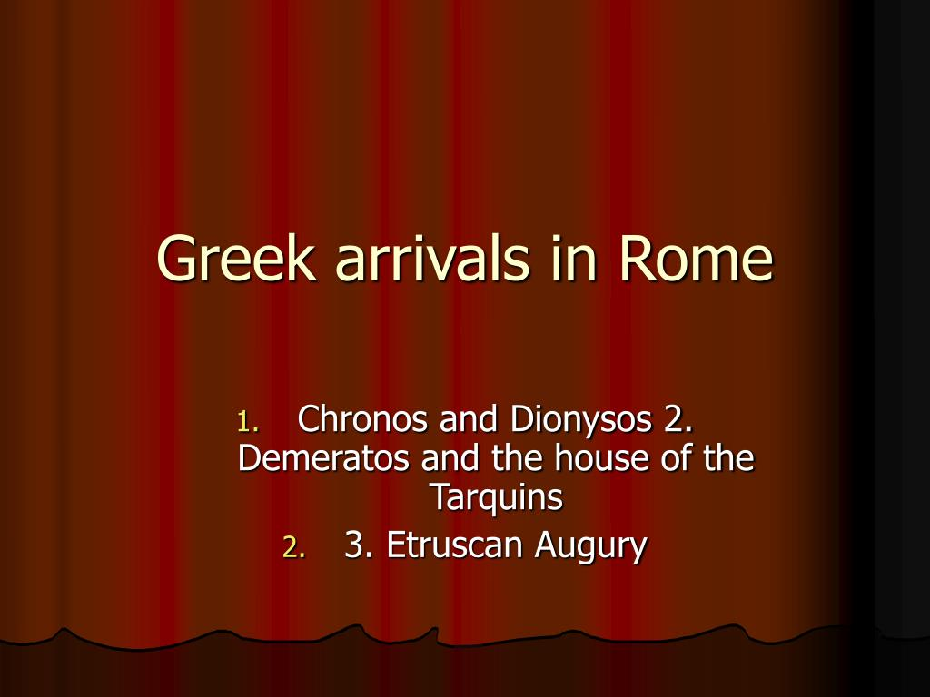 greek arrivals in rome l.