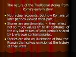 the nature of the traditional stories from rome s early history