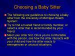 choosing a baby sitter