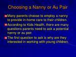 choosing a nanny or au pair
