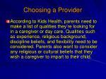 choosing a provider