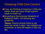 choosing child care centers