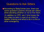 questions to ask sitters