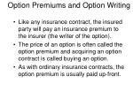 option premiums and option writing13