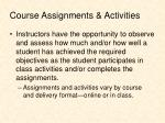 course assignments activities