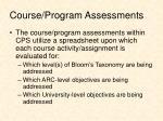course program assessments