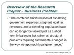 overview of the research project business problem
