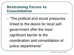 restraining forces to consolidation