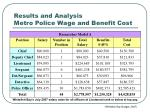 results and analysis metro police wage and benefit cost
