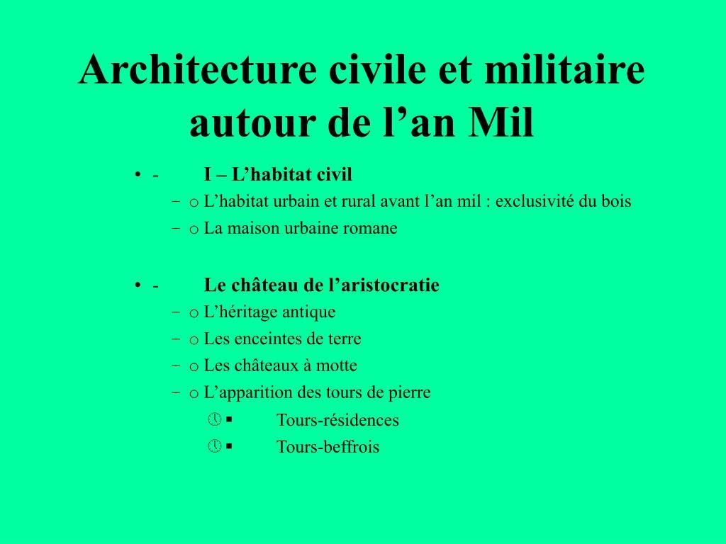 architecture civile et militaire autour de l an mil l.