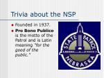 trivia about the nsp