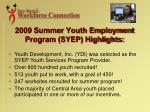2009 summer youth employment program syep highlights