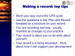 making a record top tips