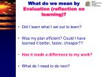 what do we mean by evaluation reflection on learning