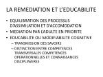 la remediation et l educabilite