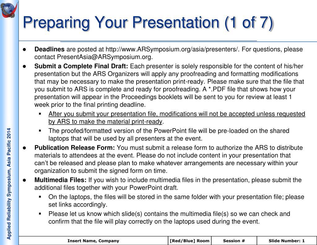 preparing your presentation 1 of 7 l.