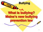 what is bullying maine s new bullying prevention law