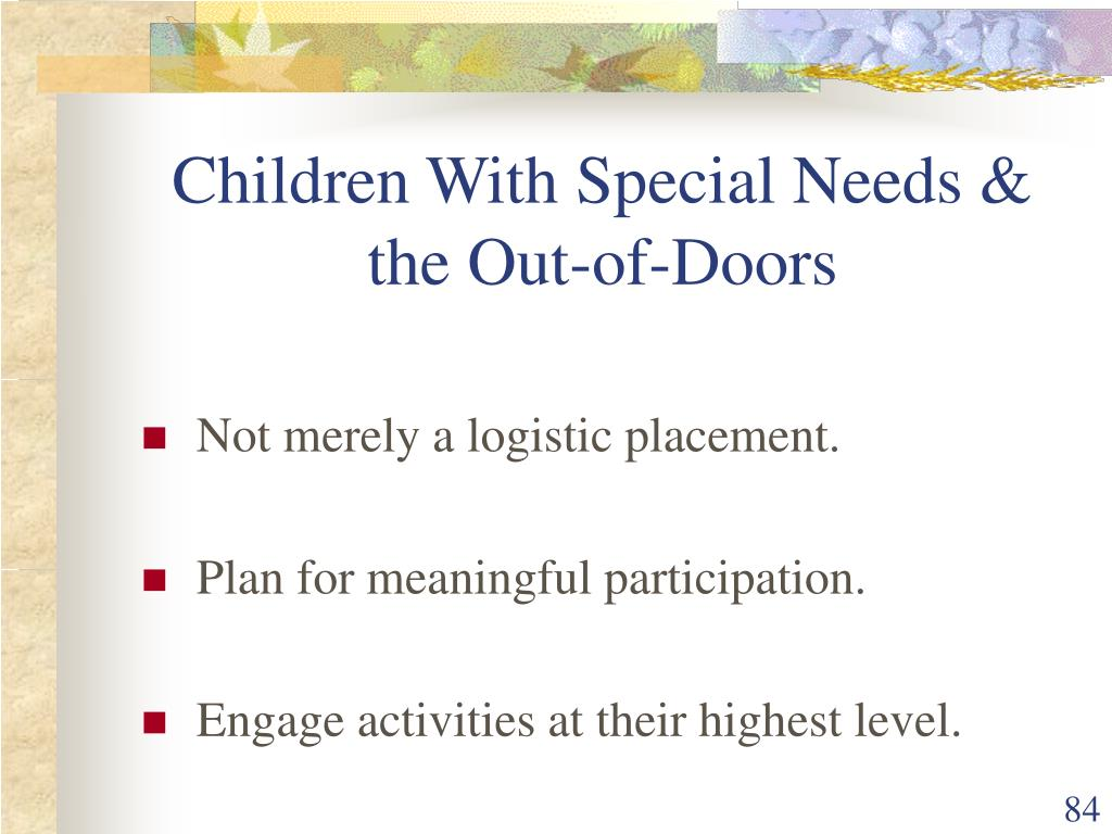 Children With Special Needs & the Out-of-Doors