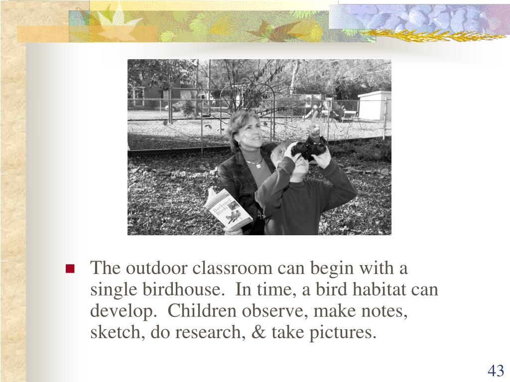 The outdoor classroom can begin with a single birdhouse.  In time, a bird habitat can develop.  Children observe, make notes, sketch, do research, & take pictures.