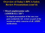 overview of today s bpca safety review presentations cont d