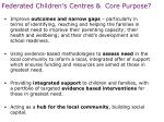 federated children s centres core purpose