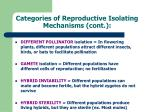 categories of reproductive isolating mechanisms cont