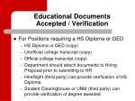 educational documents accepted verification