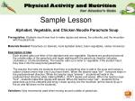 sample lesson alphabet vegetable and chicken noodle parachute soup