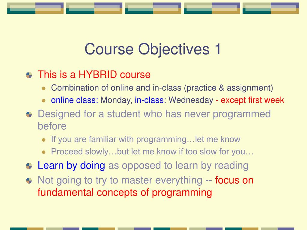 Course Objectives 1