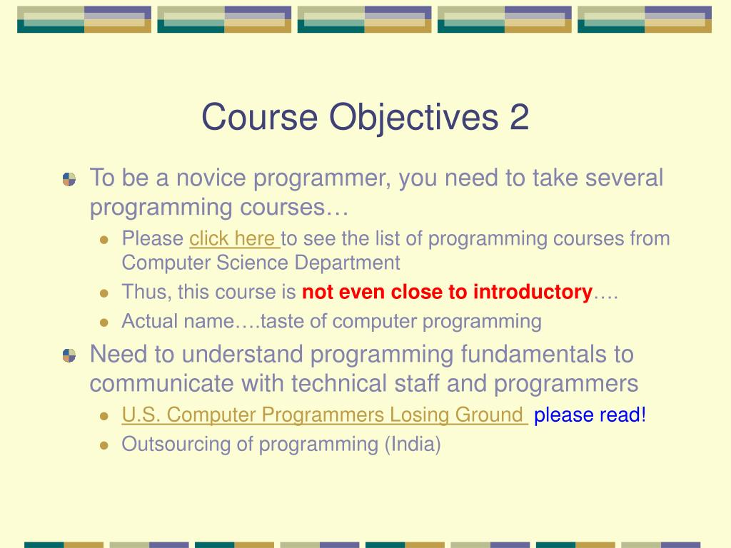 Course Objectives 2