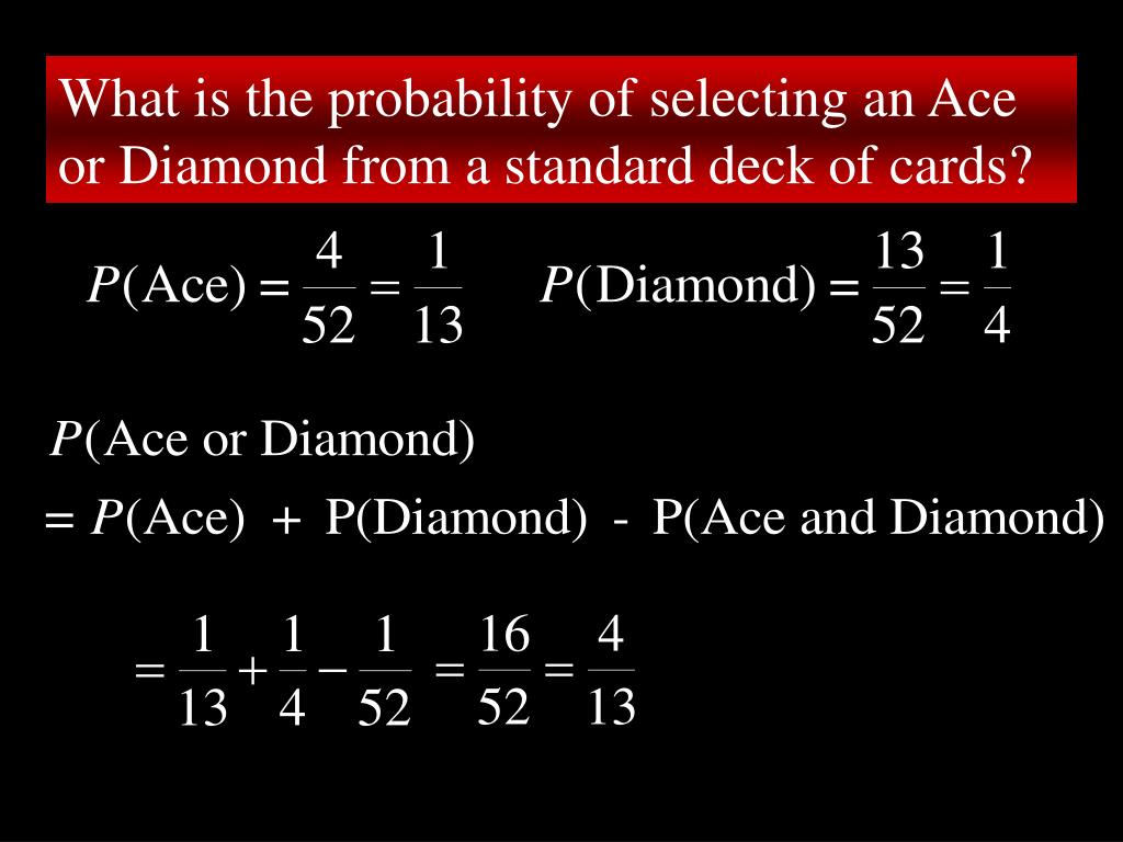 What is the probability of selecting an Ace or Diamond from a standard deck of cards?