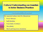 cultural understanding can translate to better business practices