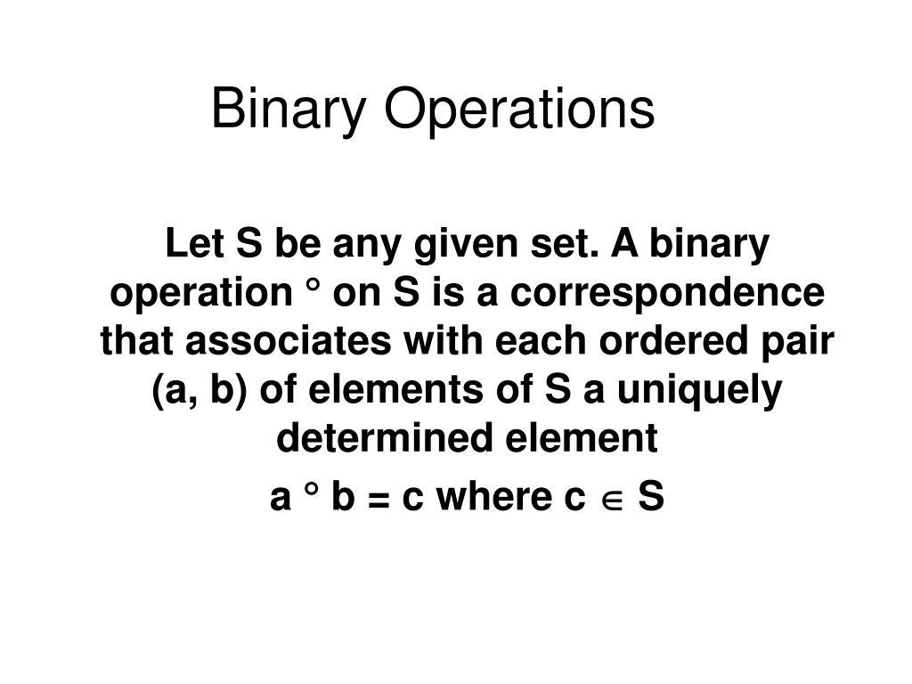 binary operations l.