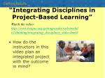 integrating disciplines in project based learning