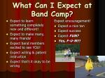 what can i expect at band camp