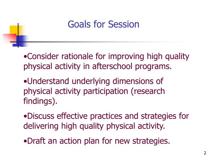 Goals for session