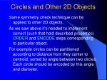 circles and other 2d objects
